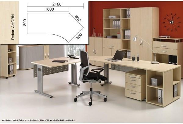 Arbeitstisch Lissabon B2166xT1131xH680-820mm Ahorn Tisch Freiform 135° rechts