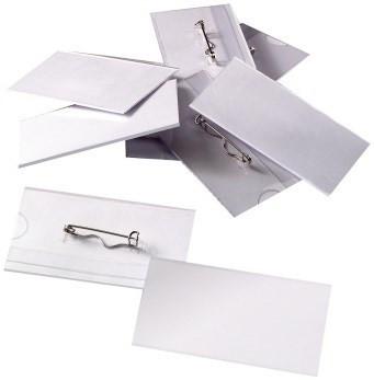 Namensschilder, Kunststoff mit Wellennadel, 75x40mm weiß blanko