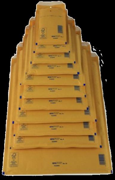 Luftpolstertasche A/1 (innen: 100x165mm/ außen: 120x175mm), braun, Haftklebung