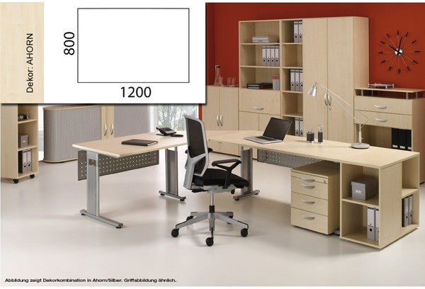 Arbeitstisch Lissabon B1200xT800xH680-820mm Ahorn Tischform: Rechteck