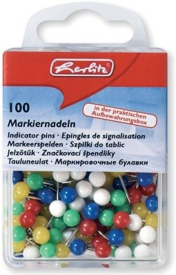 Markiernadeln Kunststoff/Metall, farbig sortiert Herlitz