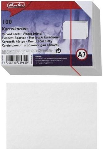 Karteikarten A7 blanko Herlitz weiß