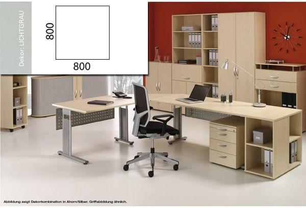 Arbeitstisch Volleckplatt Lissabon B800xT800xH680-820mm lichtgrau/Silber