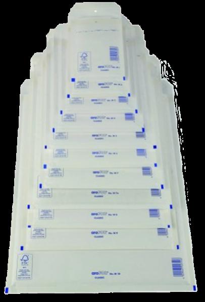 Luftpolstertasche B/2 (innen: 120x215mm/ außen: 140x225mm), weiß, Haftklebung