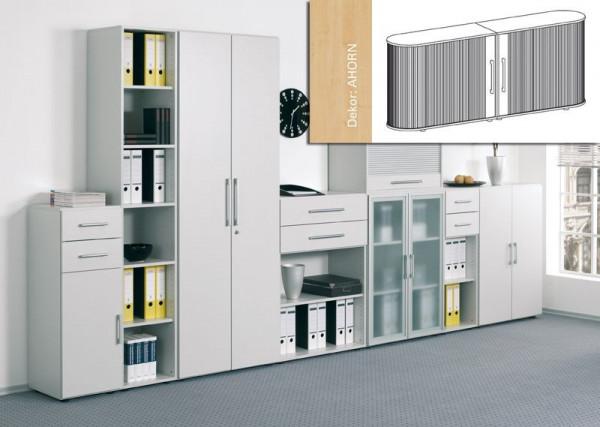 Sideboard Mailand, 2OH, weißalu/ Ahorn B2000xT400xH830mm