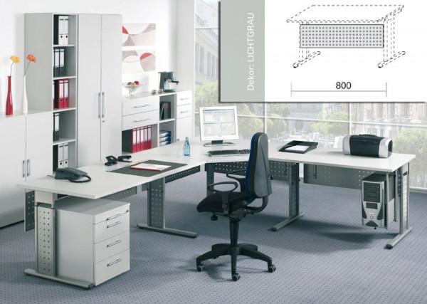 Sichtblende für Arbeitstisch gelocht, silber, Tischbreite 800mm